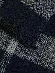 Sivo-modrý pánsky károvaný šál s.Oliver