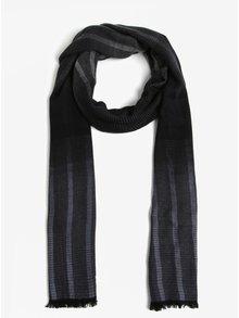 Černo-modrá pánská lehká pruhovaná šála s.Oliver