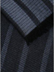 Čierno-modrý pánsky tenký pruhovaný šál s.Oliver