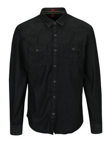 Tmavosivá pánska rifľová slim fit košeľa s.Oliver