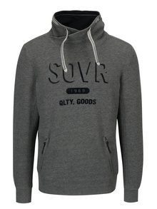 Bluza gri cu print catifelat si guler inalt pentru barbati s.Oliver