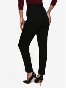 Pantaloni cropped negri cu talie inalta - MISSGUIDED