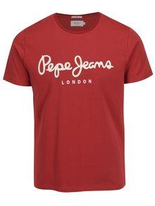 Červené pánske slim fit tričko s potlačou Pepe Jeans Original