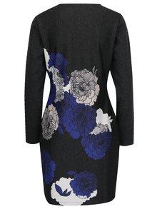 Tmavosivé kvetované šaty Yest