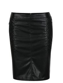Čierna koženková puzdrová sukňa Yest