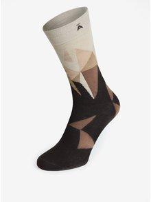 Krémovo-hnedé vzorované unisex ponožky V páru