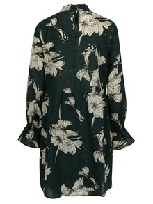 Tmavozelené kvetované šaty s dlhým rukávom VILA Floppy