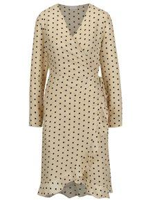 Béžové puntíkované zavinovací šaty s volánem VILA Soap