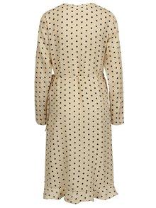 Béžové bodkované zavinovacie šaty s volánom VILA Soap