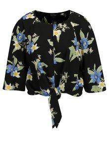 Čierny kvetovaný crop top s 3/4 rukávom Miss Selfridge