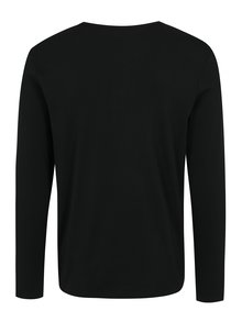 Čierne tričko s dlhým rukávom Jack & Jones Placket