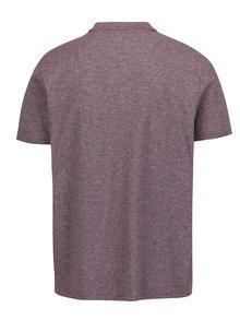 Vínové žíhané polo tričko Burton Menswear London