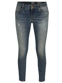 Modré skinny džíny s potrhaným efktem ONLY Alba