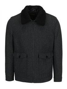 Sivá vzorovaná bunda s prímesou vlny Burton Menswear London