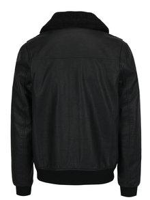 Čierna koženková bunda s umelou kožušinou na golieri Burton Menswear London
