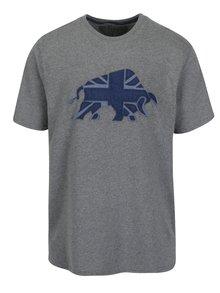 Šedé tričko s nášivkou býka Raging Bull