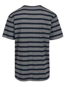 Modro-sivé pruhované tričko s výšivkou loga Raging Bull