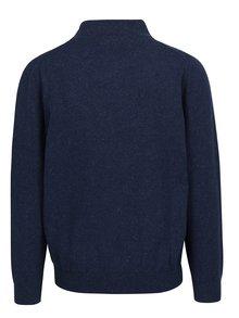 Tmavomodrý melírovaný sveter na zips Raging Bull