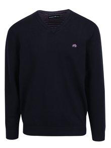 Tmavomodrý sveter s véčkovým výstrihom Raging Bull
