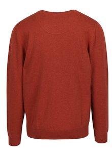 Oranžový sveter s véčkovým výstrihom Raging Bull