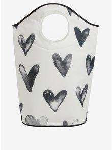 Černo-krémový koš na prádlo s potiskem srdcí Butter Kings