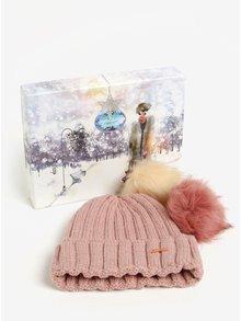 Ružová dámska čiapka s odnímateľnými brmbolcami Something Special