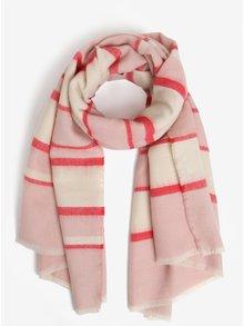 Krémovo-ružový pruhovaný šál Pieces Dia