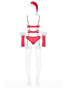 Vánoční set průsvitného body, rukavic, čepice a síťovaných punčoch v červené barvě Obsessive Merrily suit set