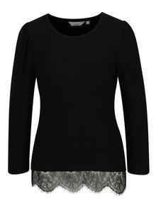 Čierny sveter s čipkovým lemom Dorothy Perkins Petite