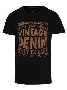 Černé slim fit tričko s krátkým rukávem a potiskem Blend