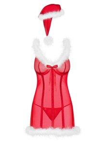 Vánoční set průsvitné noční košilky, čepice a tang v červené barvě Obsessive Merrily chemise