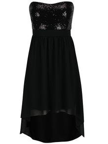 Čierne šaty s flitrovaným topom bez ramienok Haily´s Gloria