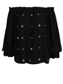 Černá halenka s odhalenými rameny a korálkovou aplikací Dorothy Perkins