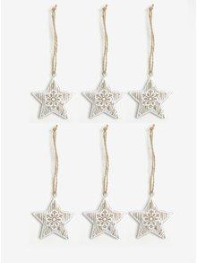 Sada šesti kusů závěsné dekorace ve tvaru hvězd v bílé barvě Dakls