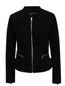 Jacheta neagra din piele intoarsa VILA Miss Suede