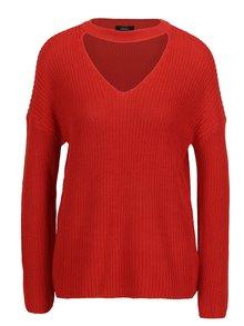Červený žebrovaný svetr s chokerem ONLY Kristi