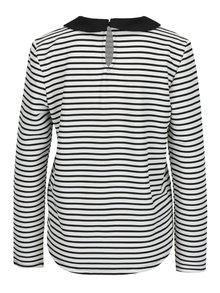 Bielo-čierne pruhované tričko s golierikom ONLY Carmella