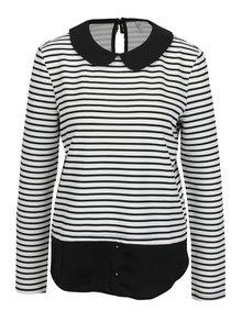 Bílo-černé pruhované tričko s límečkem ONLY Carmella