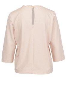 Bluza roz pal cu maneci 3/4 si volan la guler ONLY Victoria