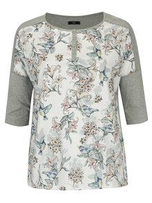 Krémovo-sivé dámske tričko s motívom kvetín a vtákov M&Co Plus