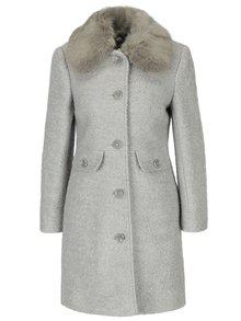 Světle šedý kabát s příměsí vlny a límcem z umělého kožíšku M&Co Petite