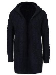 Tmavě modrý dámský cardigan s kapucí a kapsami M&Co