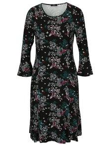 Čierne kvetované šaty s trojštvrťovými rukávmi do zvonu M&Co