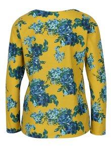 Modro-žlté kvetované tričko s dlhým rukávom M&Co