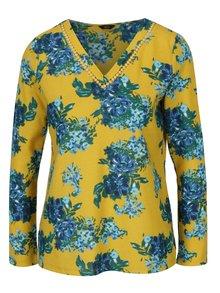 Bluza galbena cu print floral si dantela M&Co