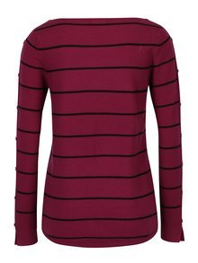 Tmavě růžový pruhovaný svetr s knoflíky M&Co