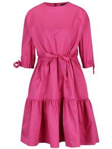 Růžové áčkové šaty se stahováním v pase Framboise Cut