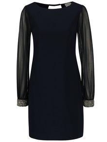 Tmavě modré šaty s průsvitnými rukávy barvě Apricot