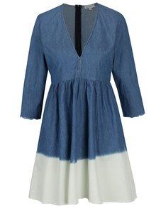 Modré džínové šaty s véčkovým výstřihem Apricot