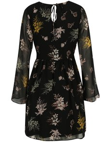 Rochie neagra cu print floral si maneci clopot Apricot